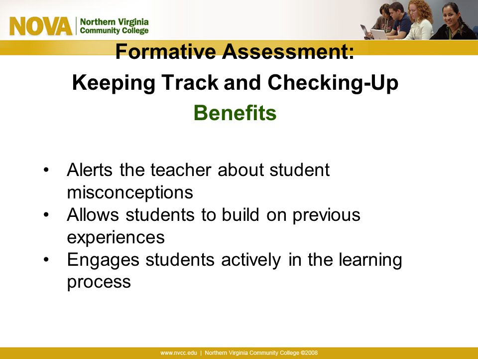 Formative Assessment: Keeping Track and Checking-Up Benefits