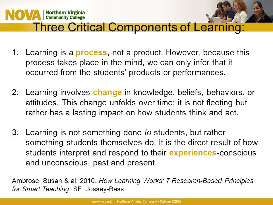 Three Critical Components of Learning: