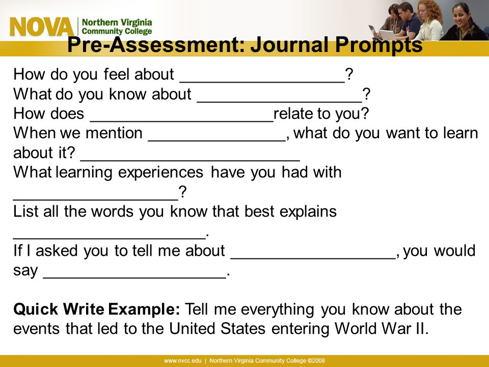 Pre-Assessment: Journal Prompts