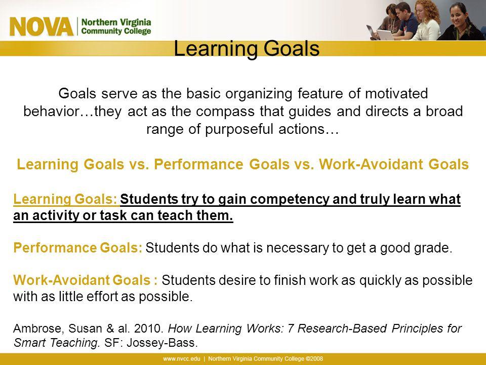 Learning Goals vs. Performance Goals vs. Work-Avoidant Goals