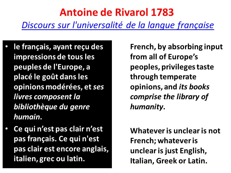 Antoine de Rivarol 1783 Discours sur l universalité de la langue française