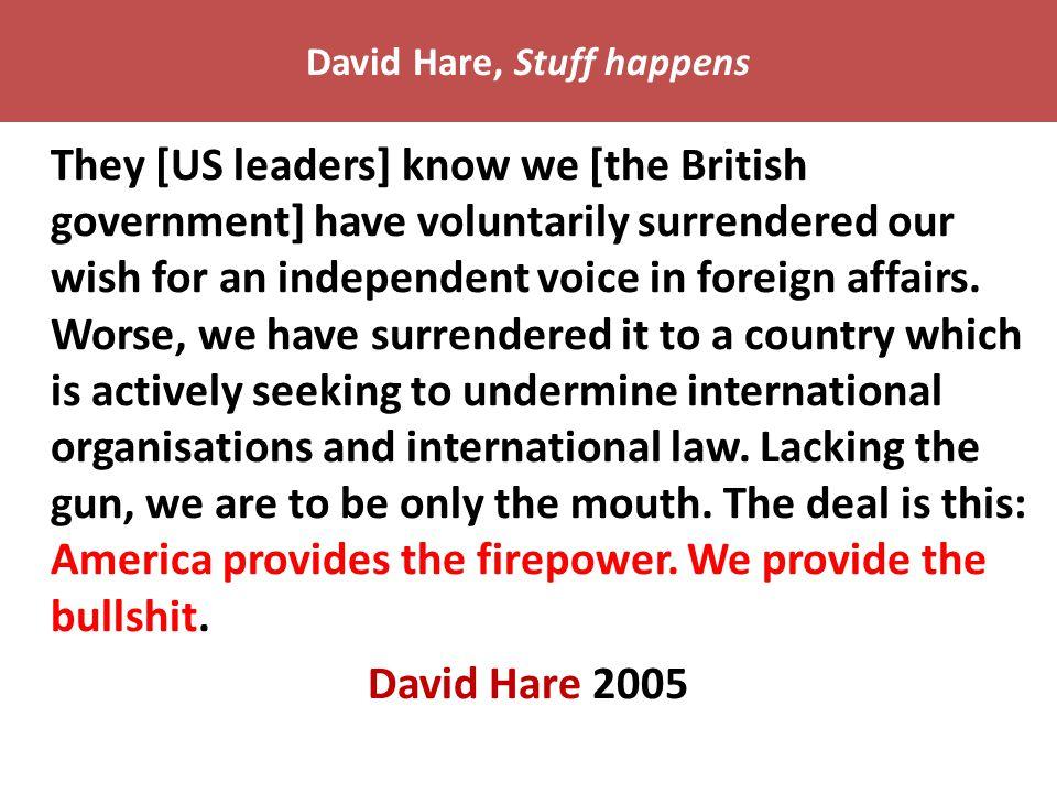 David Hare, Stuff happens