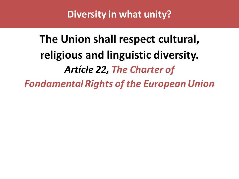 Diversity in what unity