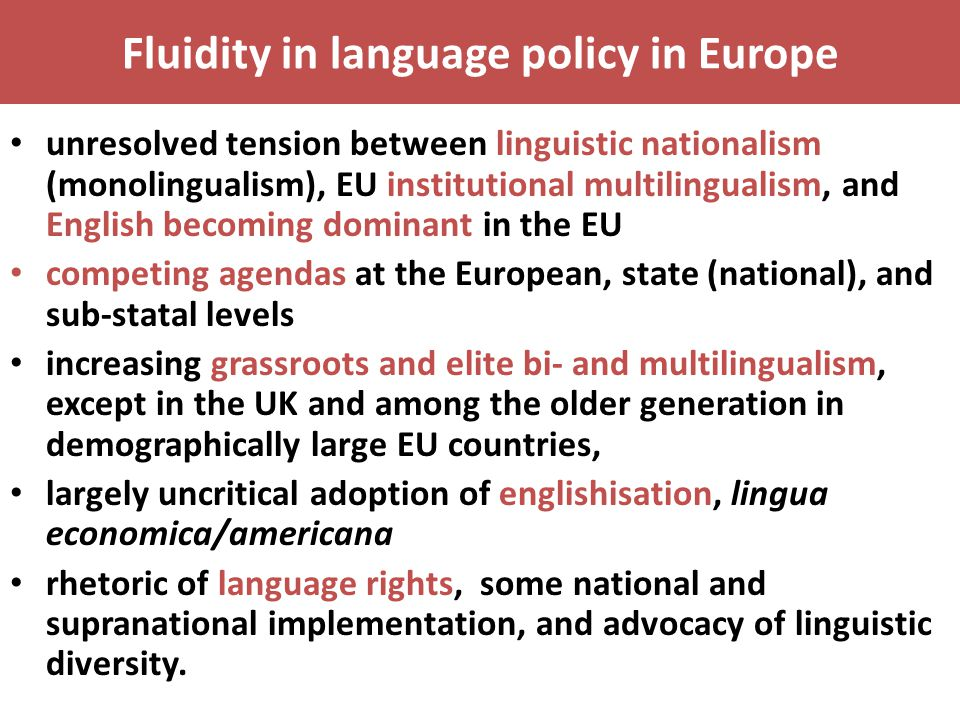 Fluidity in language policy in Europe