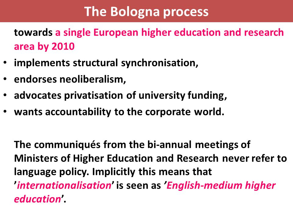 The Bologna process towards a single European higher education and research area by 2010. implements structural synchronisation,