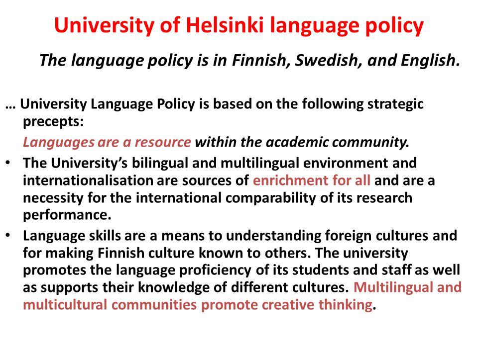 University of Helsinki language policy