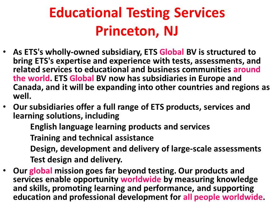 Educational Testing Services Princeton, NJ