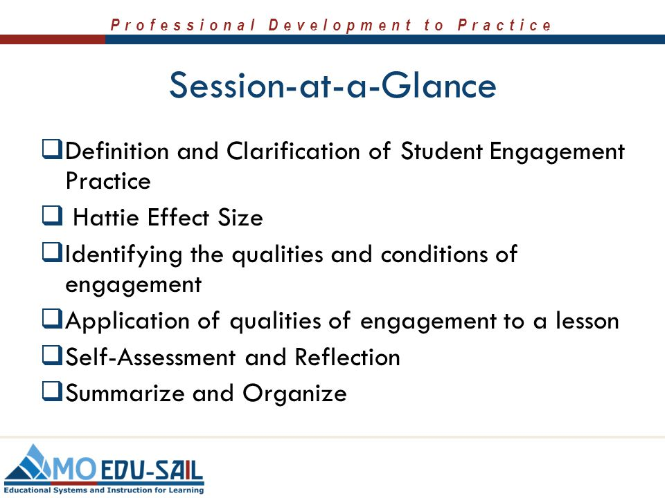 Session-at-a-Glance Definition and Clarification of Student Engagement Practice. Hattie Effect Size.