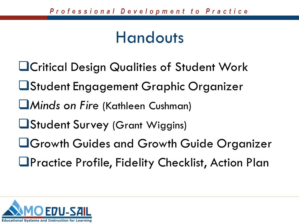 Handouts Critical Design Qualities of Student Work