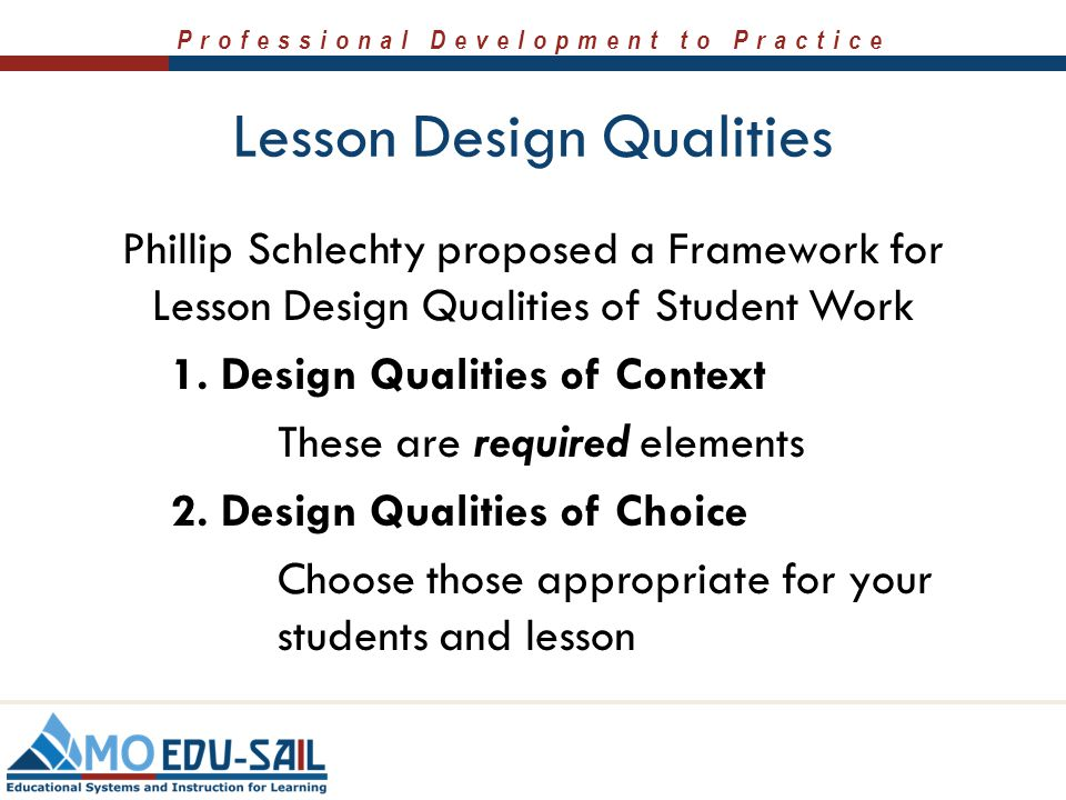 Lesson Design Qualities