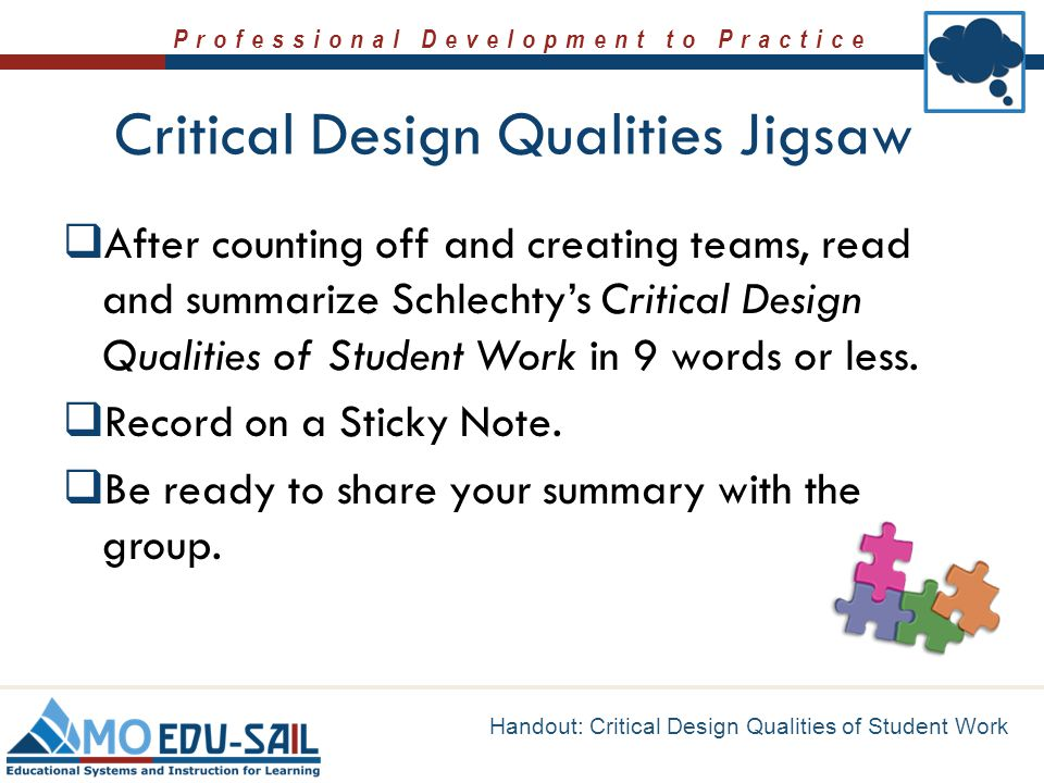 Critical Design Qualities Jigsaw