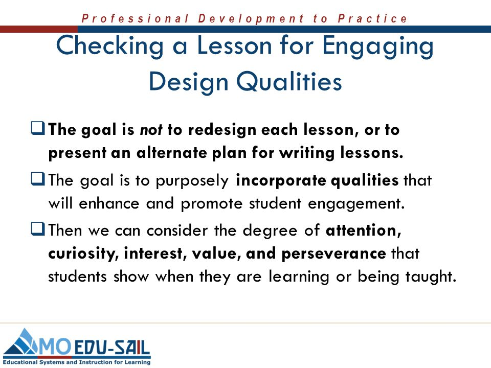 Checking a Lesson for Engaging Design Qualities