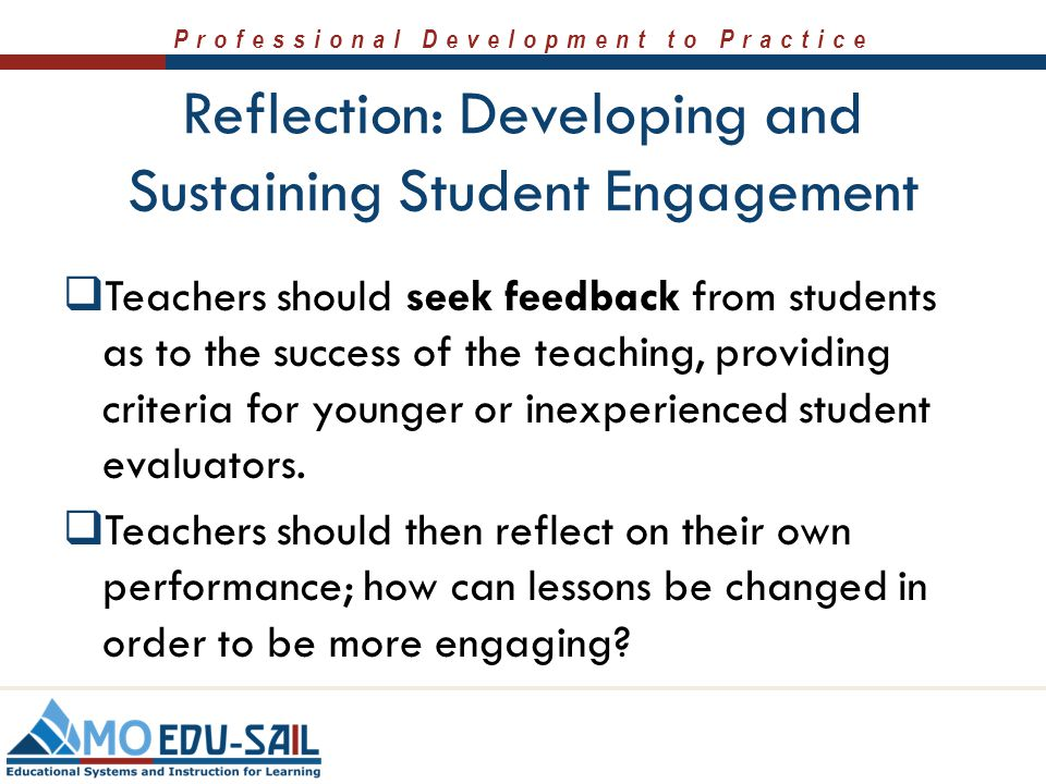 Reflection: Developing and Sustaining Student Engagement