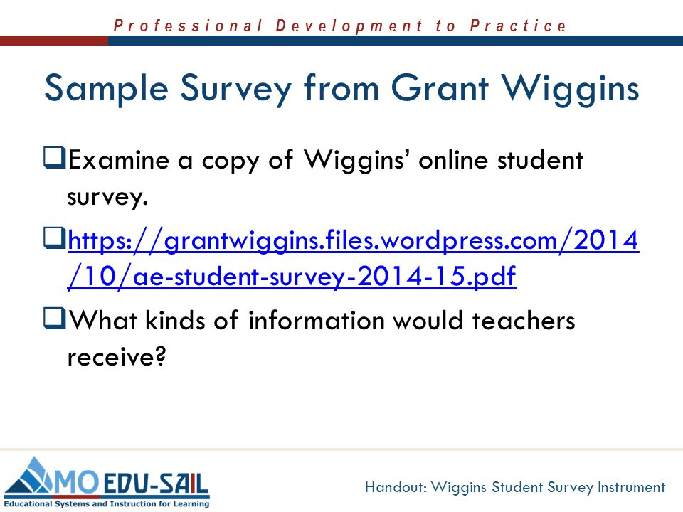 Sample Survey from Grant Wiggins