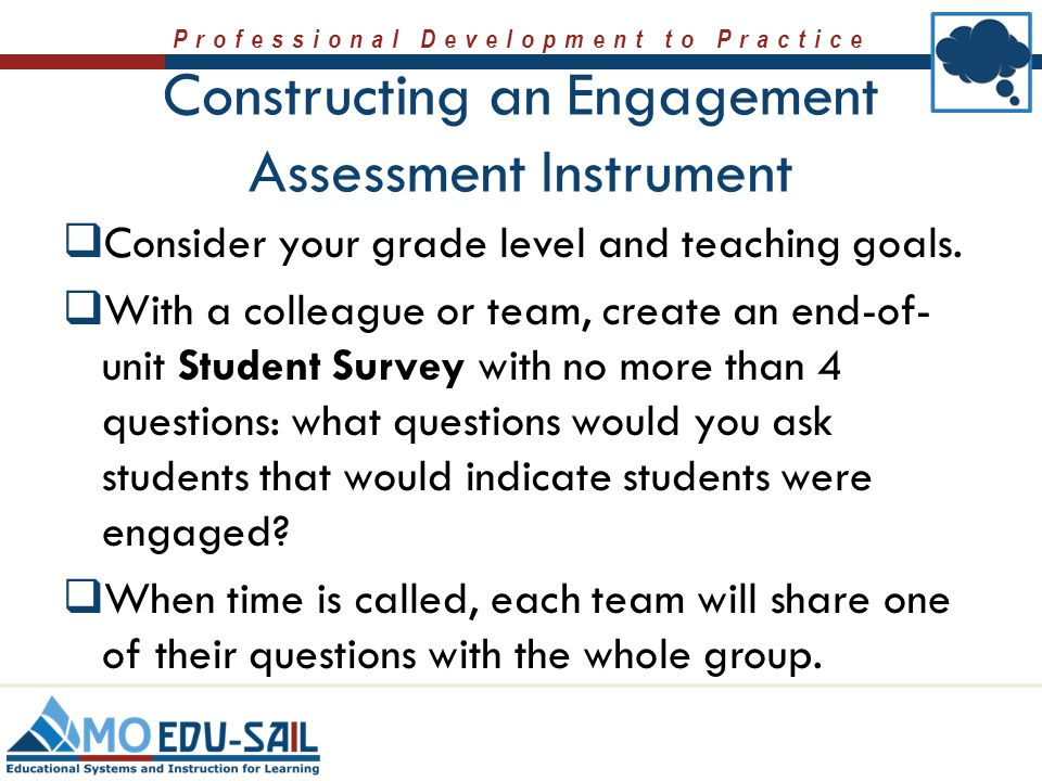 Constructing an Engagement Assessment Instrument