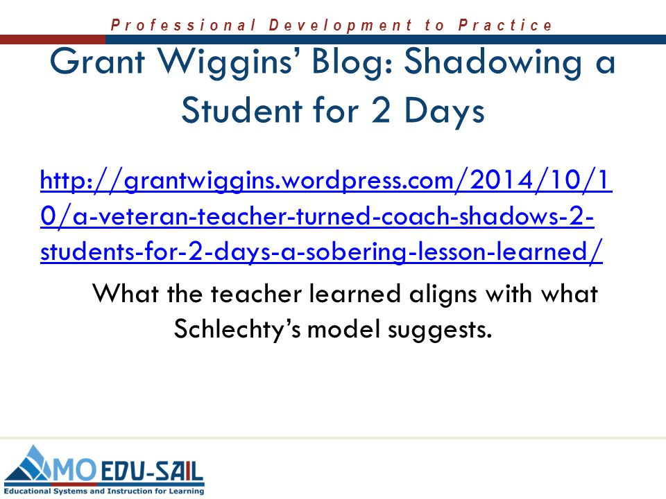 Grant Wiggins' Blog: Shadowing a Student for 2 Days