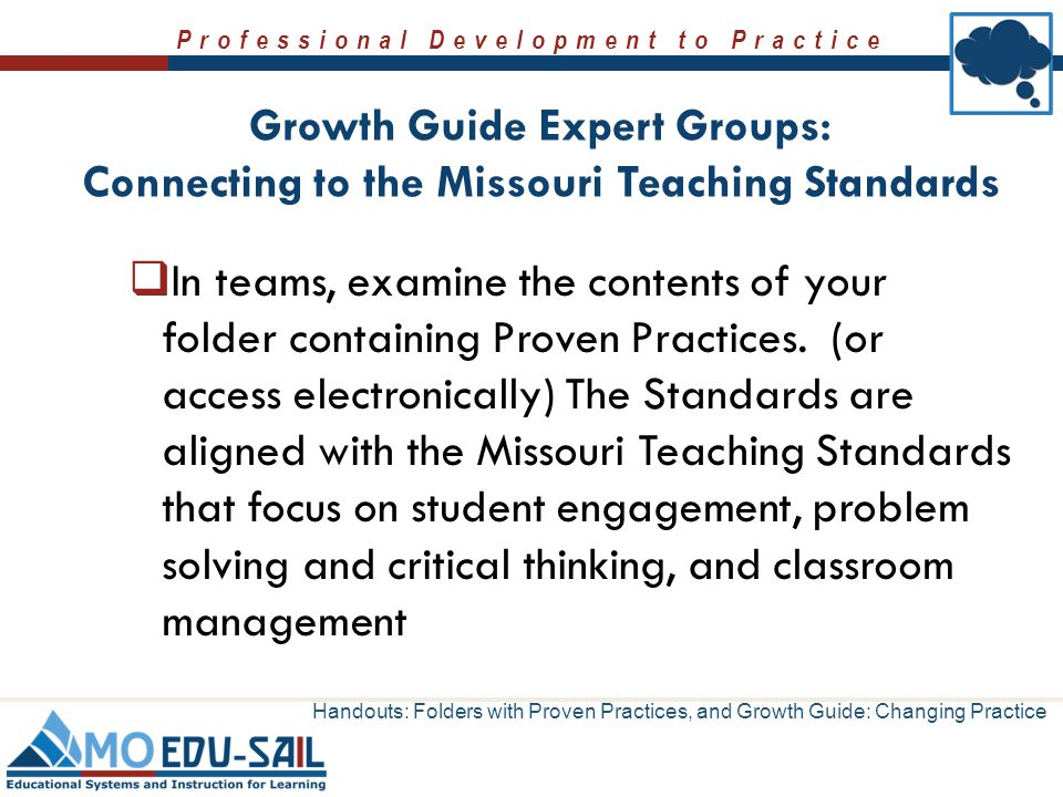 Growth Guide Expert Groups: Connecting to the Missouri Teaching Standards