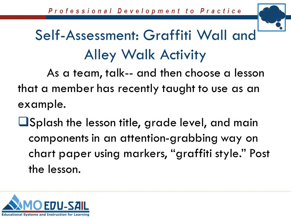 Self-Assessment: Graffiti Wall and Alley Walk Activity