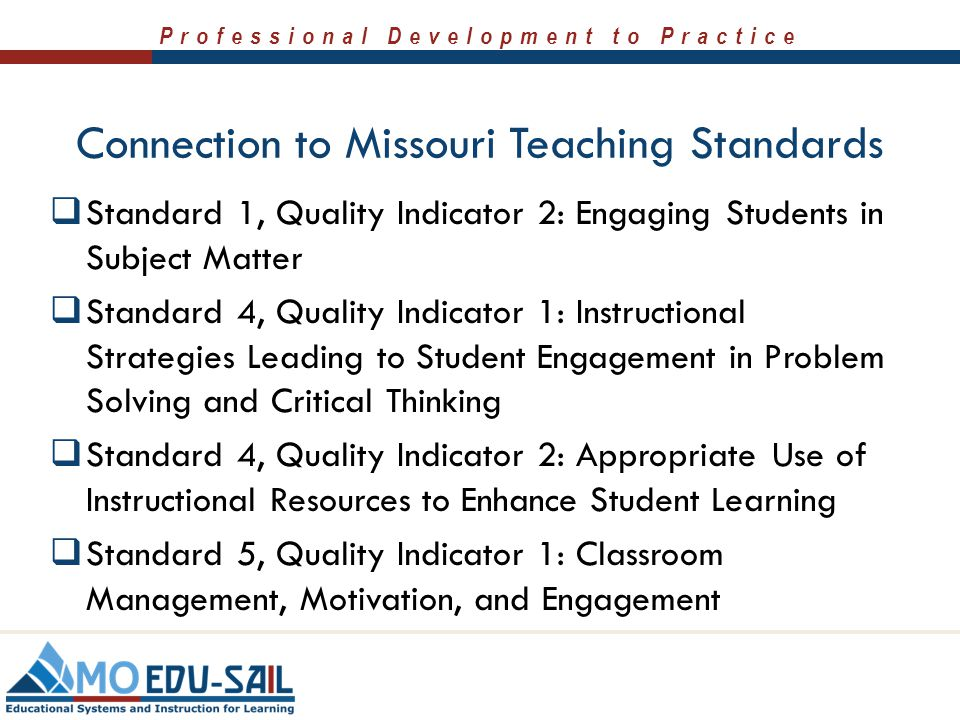 Connection to Missouri Teaching Standards