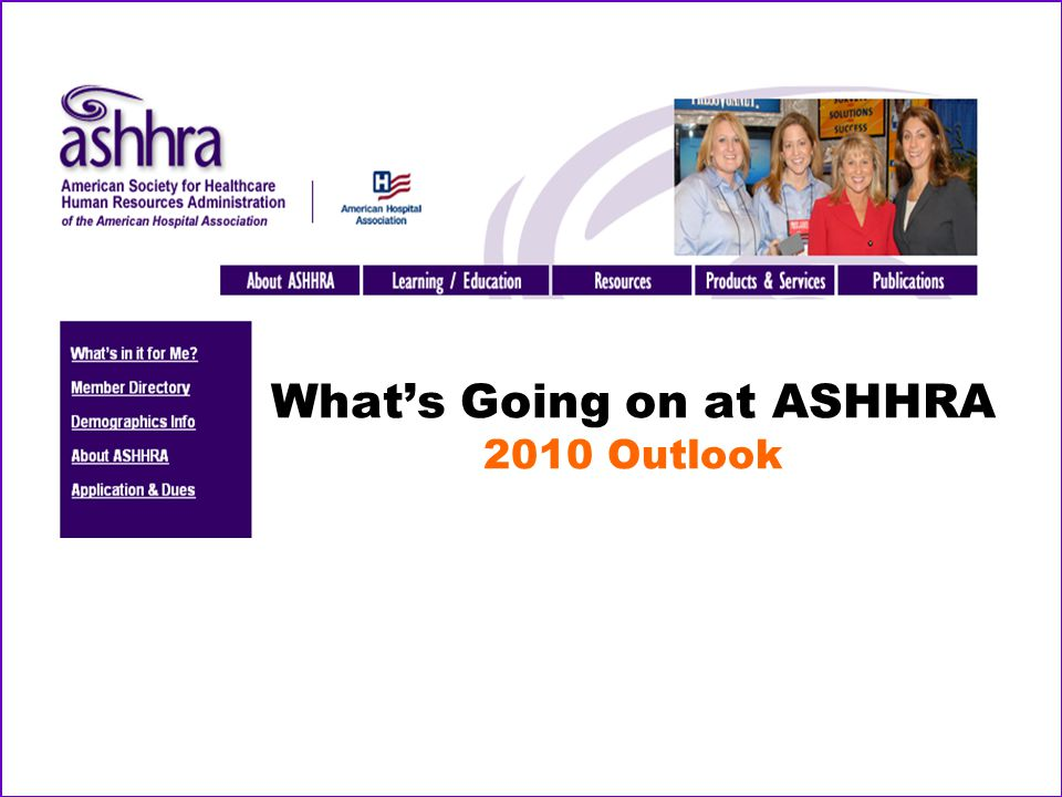 What's Going on at ASHHRA 2010 Outlook