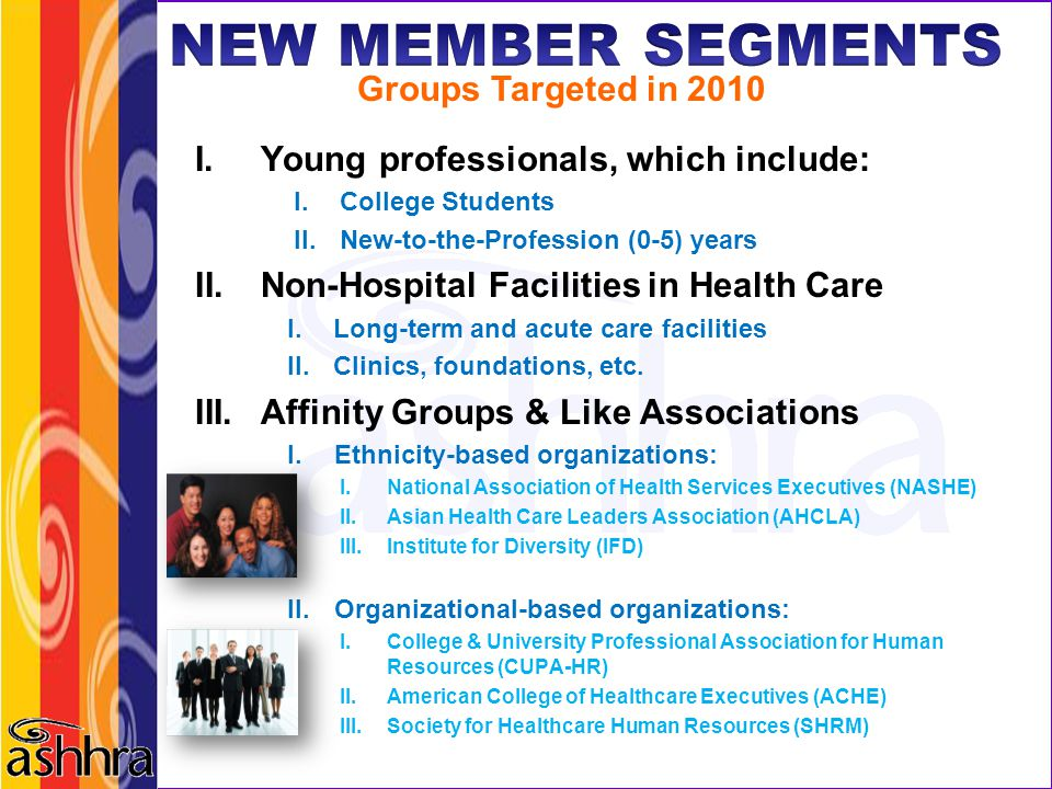 NEW MEMBER SEGMENTS Groups Targeted in 2010