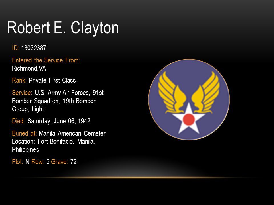 Robert E. Clayton ID: 13032387 Entered the Service From: Richmond,VA