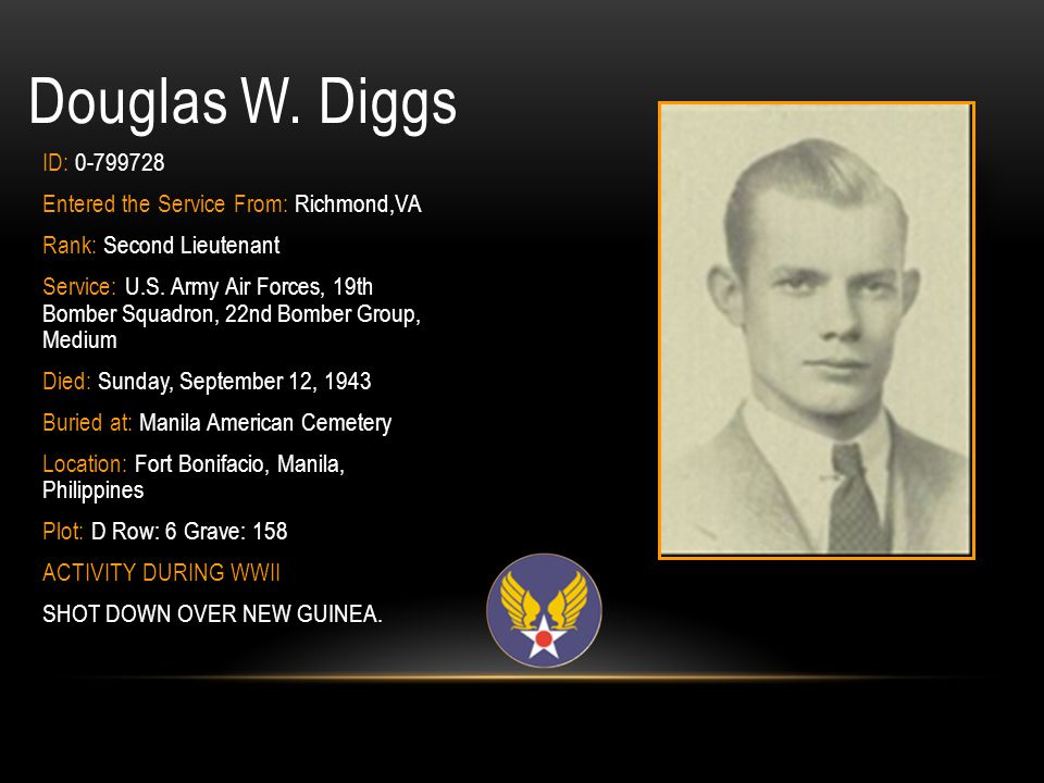 Douglas W. Diggs ID: 0-799728 Entered the Service From: Richmond,VA
