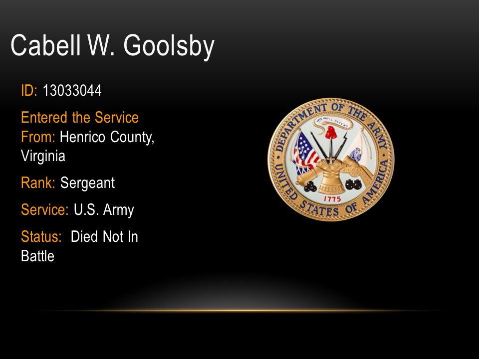 Cabell W. Goolsby ID: 13033044. Entered the Service From: Henrico County, Virginia. Rank: Sergeant.