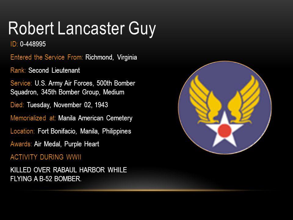 Robert Lancaster Guy ID: 0-448995