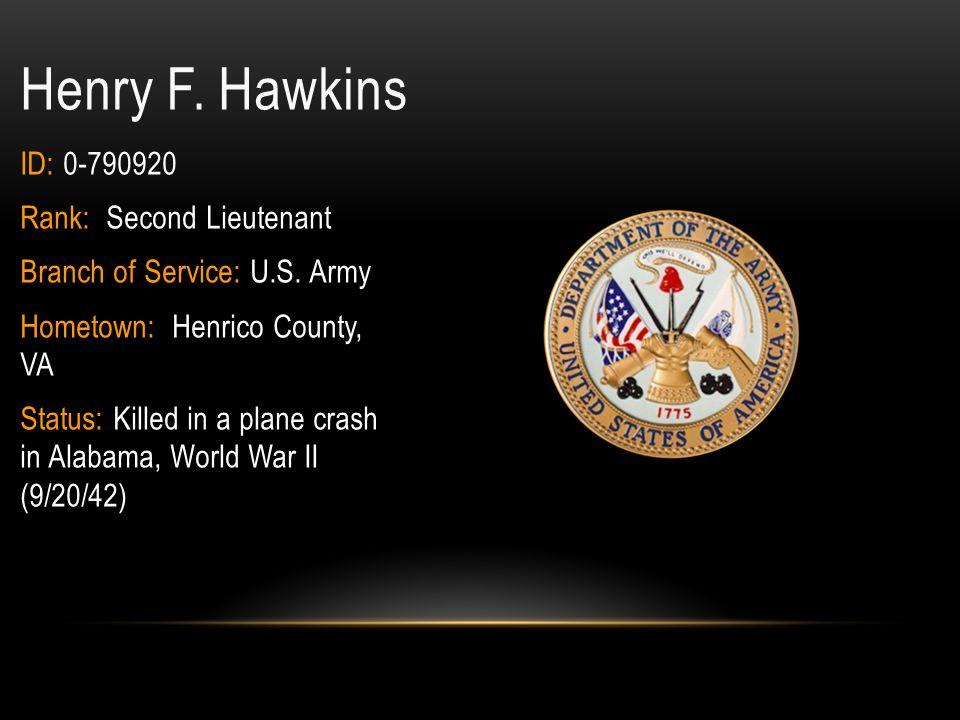 Henry F. Hawkins ID: 0-790920 Rank: Second Lieutenant