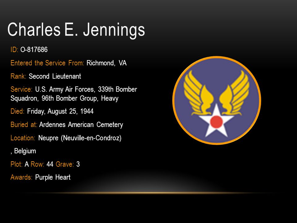 Charles E. Jennings ID: O-817686
