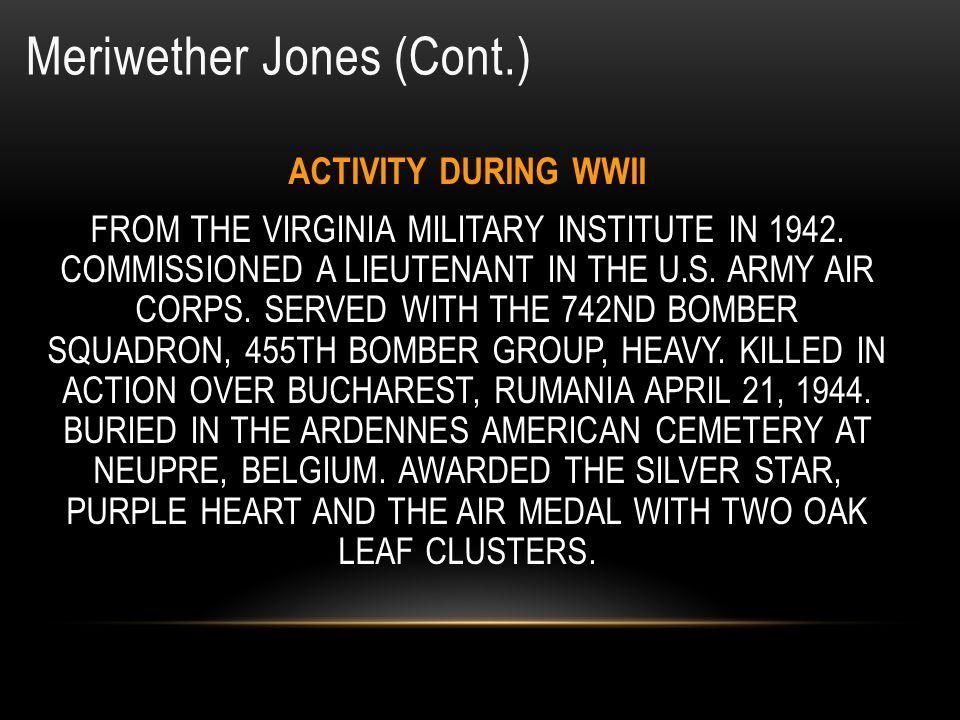 Meriwether Jones (Cont.)