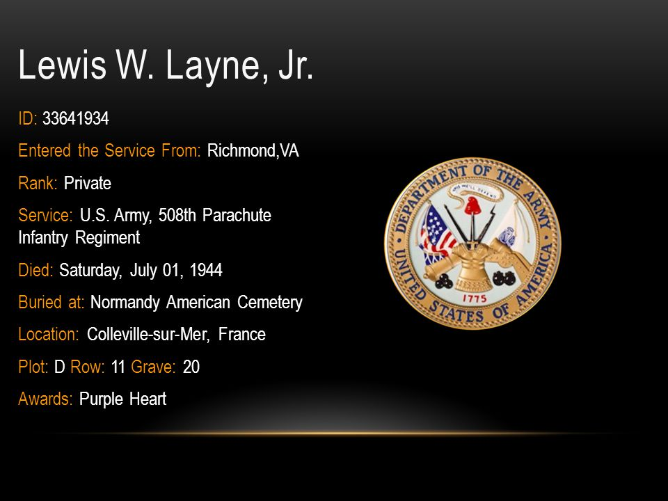 Lewis W. Layne, Jr. ID: 33641934 Entered the Service From: Richmond,VA