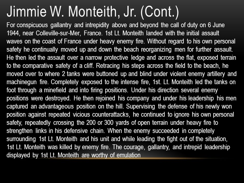 Jimmie W. Monteith, Jr. (Cont.)