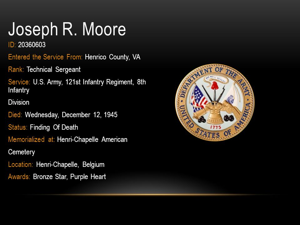 Joseph R. Moore ID: 20360603. Entered the Service From: Henrico County, VA. Rank: Technical Sergeant.