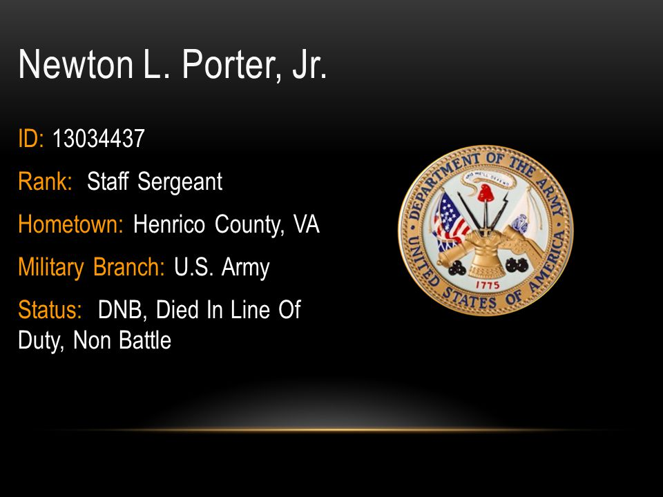 Newton L. Porter, Jr. ID: 13034437 Rank: Staff Sergeant