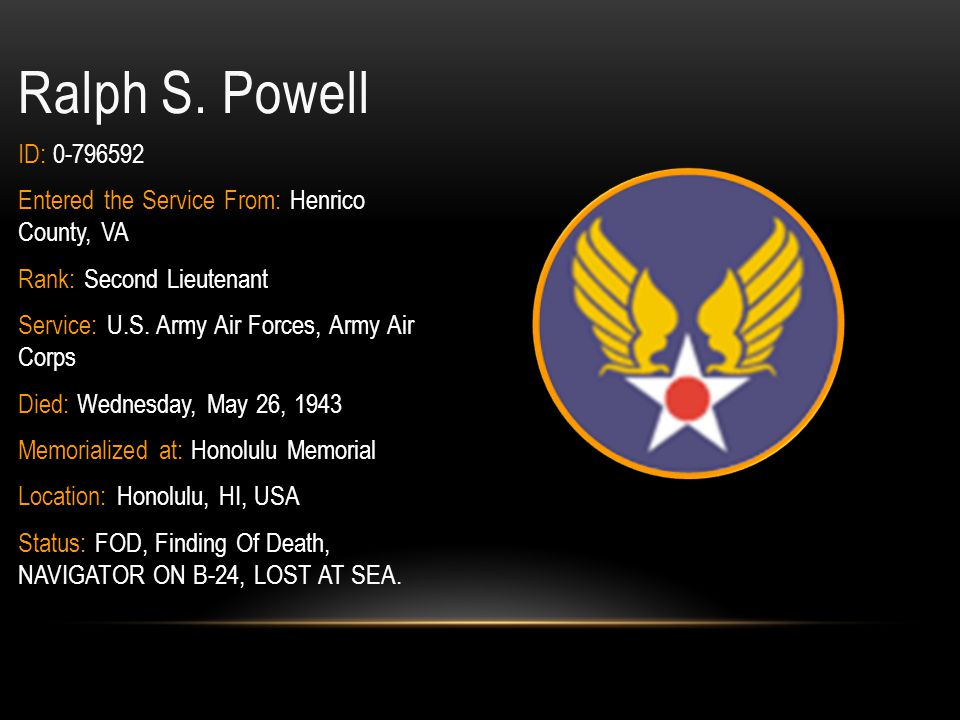 Ralph S. Powell ID: 0-796592. Entered the Service From: Henrico County, VA. Rank: Second Lieutenant.