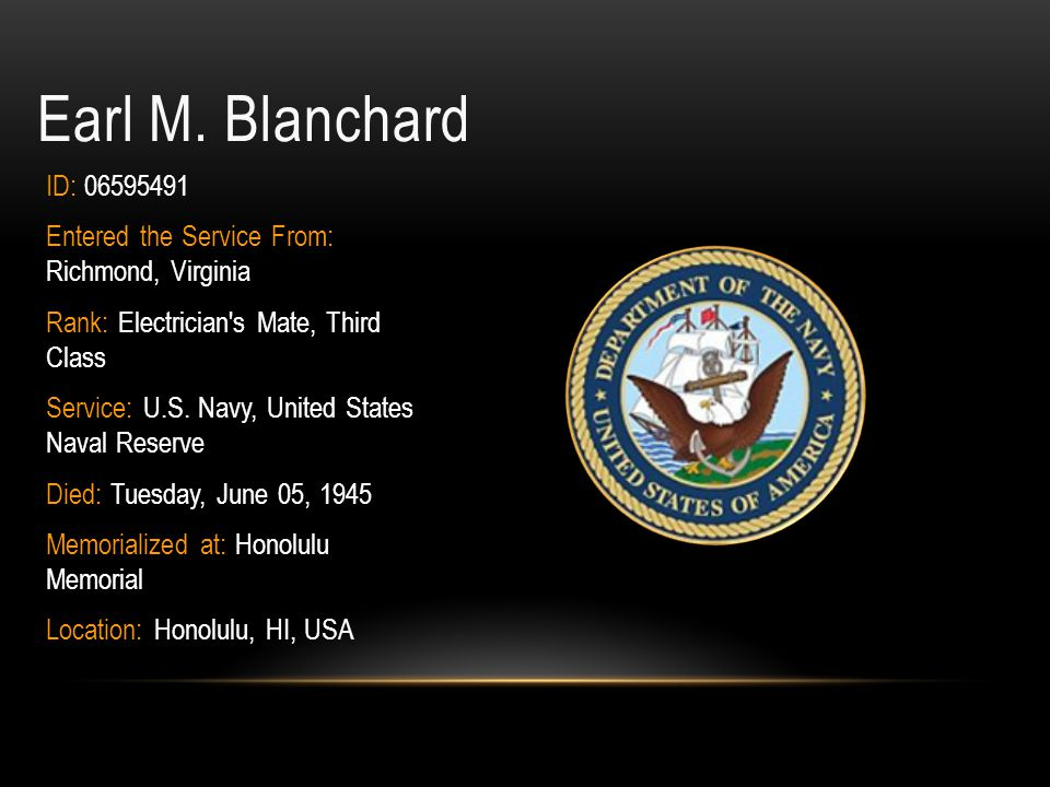 Earl M. Blanchard ID: 06595491. Entered the Service From: Richmond, Virginia. Rank: Electrician s Mate, Third Class.