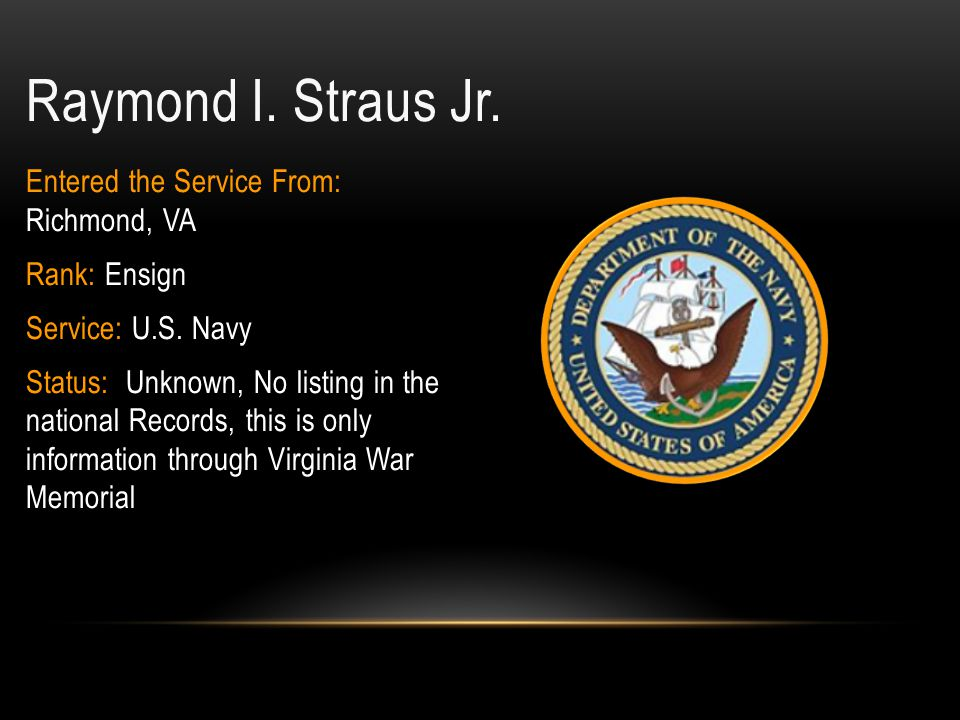 Raymond I. Straus Jr. Entered the Service From: Richmond, VA