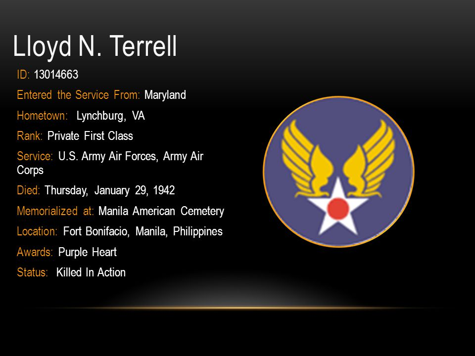 Lloyd N. Terrell ID: 13014663 Entered the Service From: Maryland