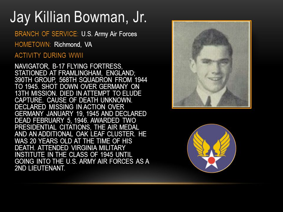 Jay Killian Bowman, Jr. BRANCH OF SERVICE: U.S. Army Air Forces