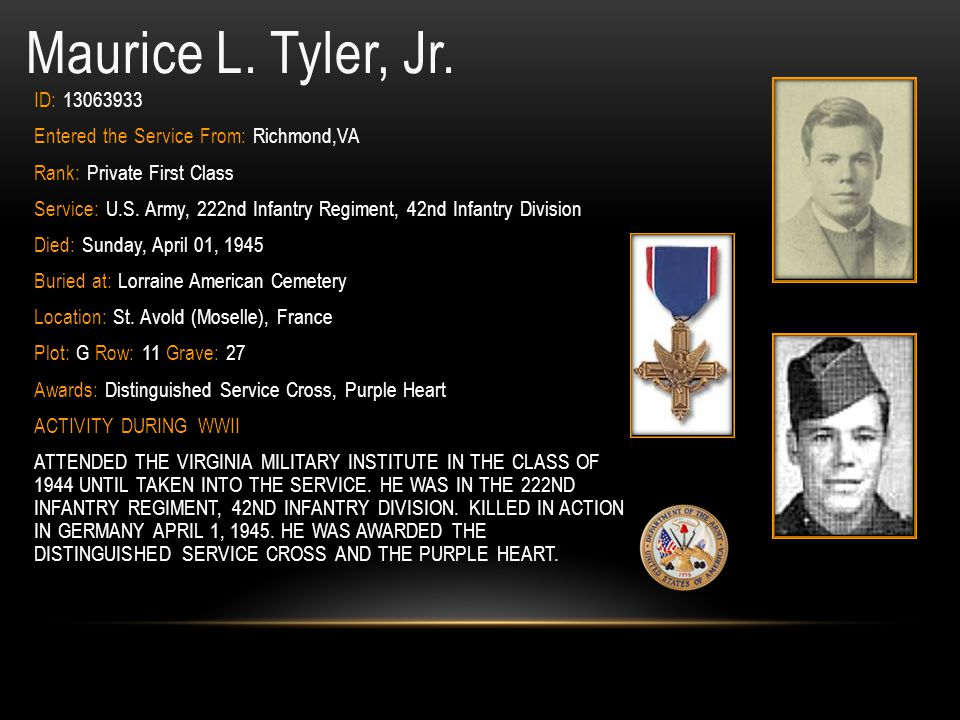Maurice L. Tyler, Jr. ID: 13063933. Entered the Service From: Richmond,VA. Rank: Private First Class.
