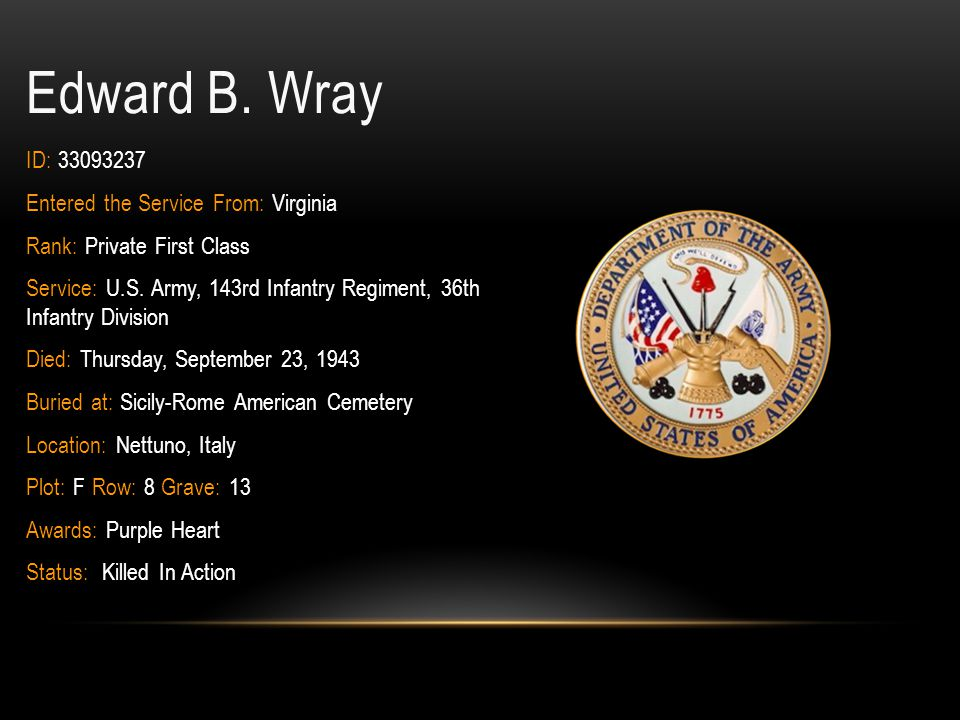 Edward B. Wray ID: 33093237 Entered the Service From: Virginia