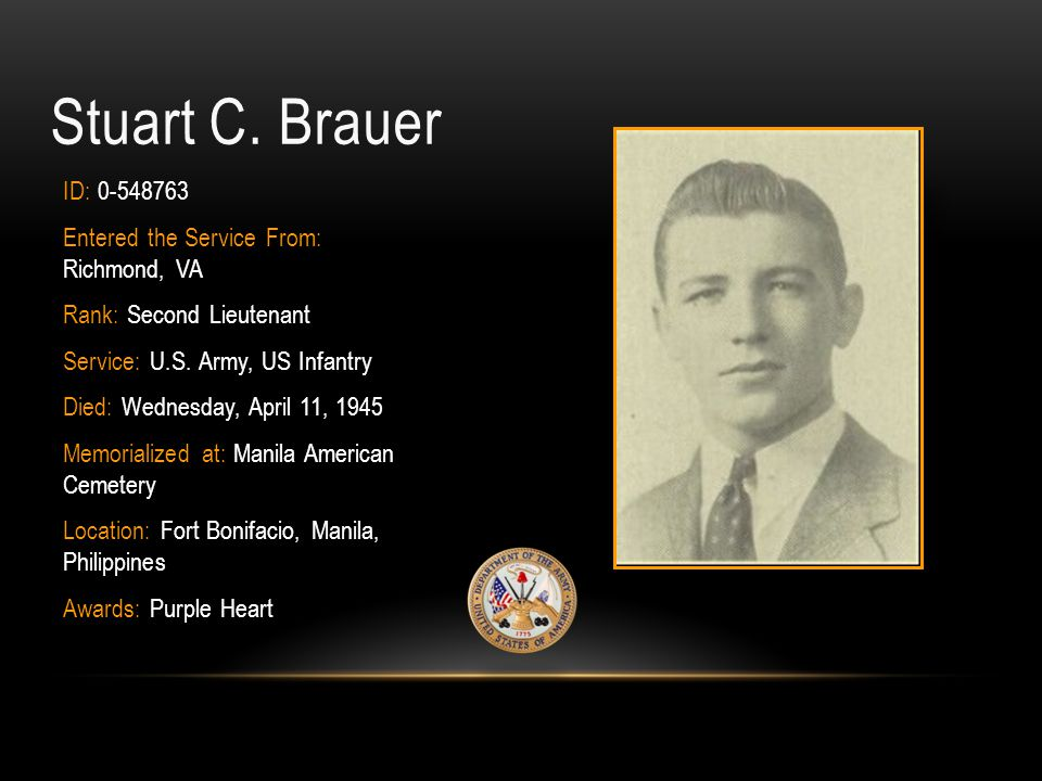 Stuart C. Brauer ID: 0-548763 Entered the Service From: Richmond, VA