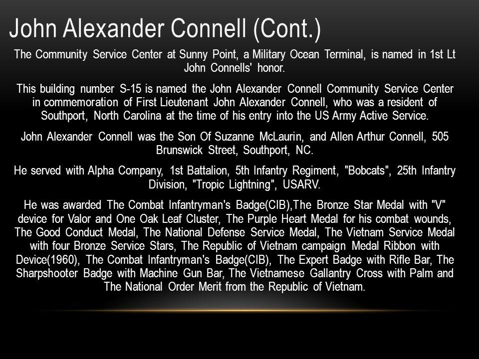 John Alexander Connell (Cont.)