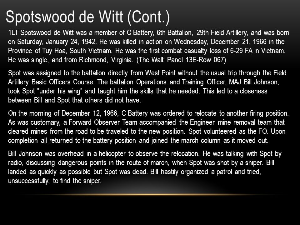 Spotswood de Witt (Cont.)