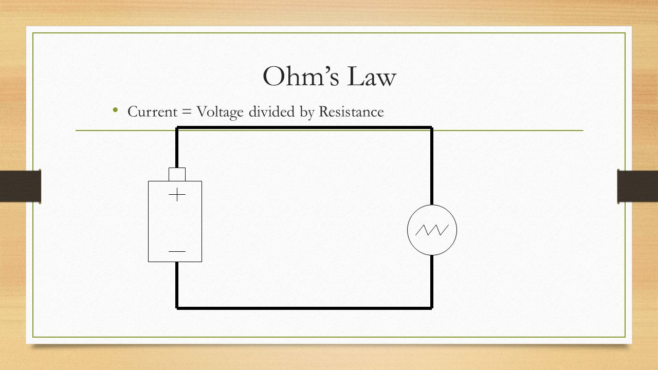 Ohm's Law Current = Voltage divided by Resistance