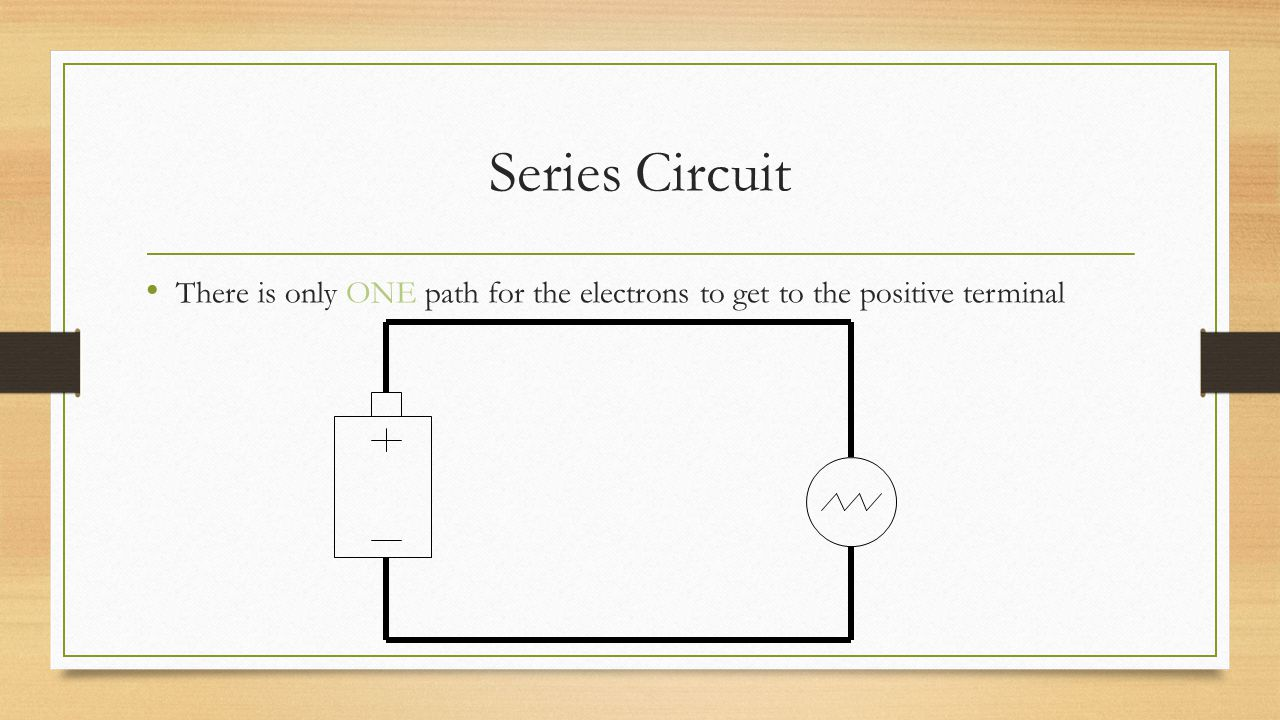 Series Circuit There is only ONE path for the electrons to get to the positive terminal