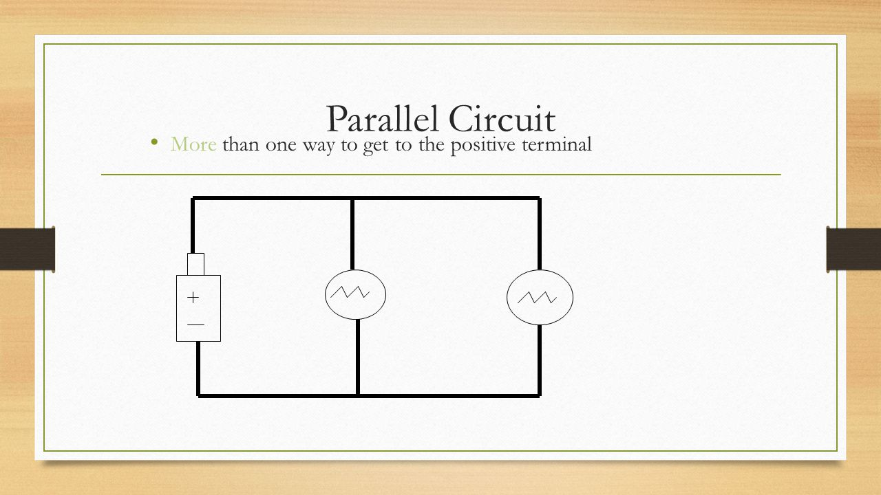 Parallel Circuit More than one way to get to the positive terminal