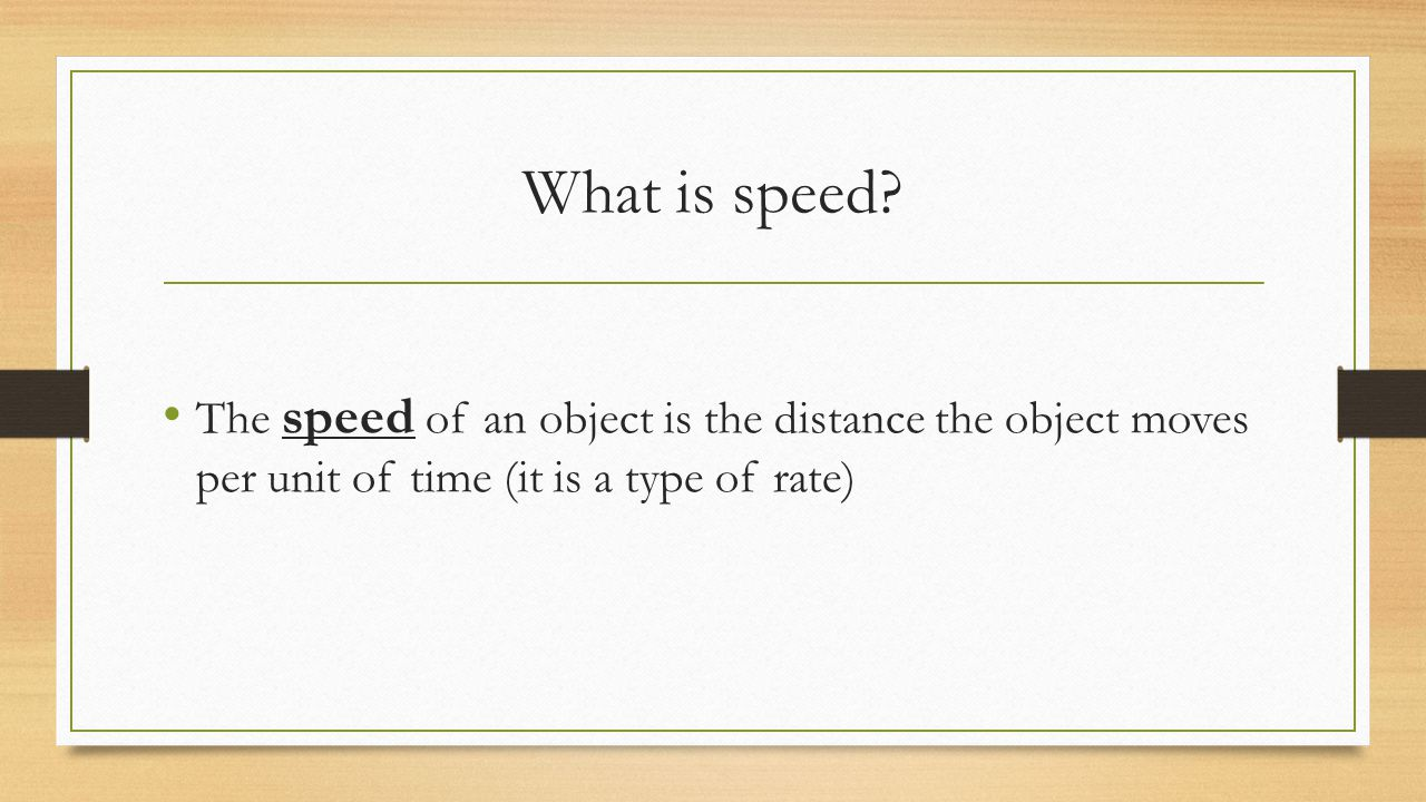 What is speed.